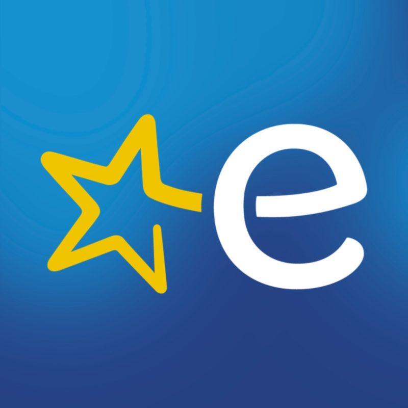 Euronicsi logo sinisel taustal.