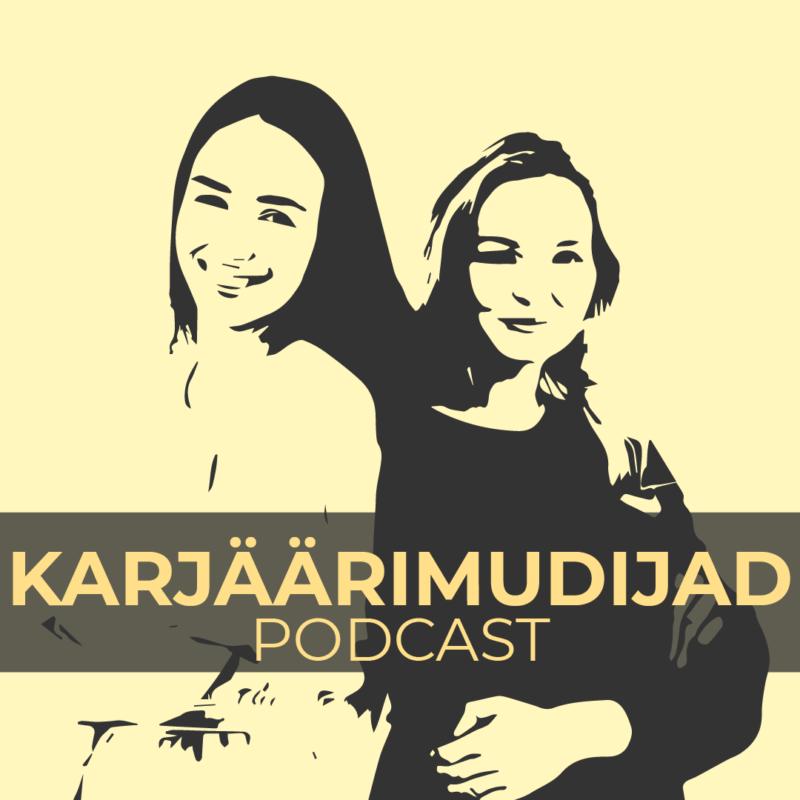 Abstraktne joonistus podcasti esitajatest ja podcasti nimi.