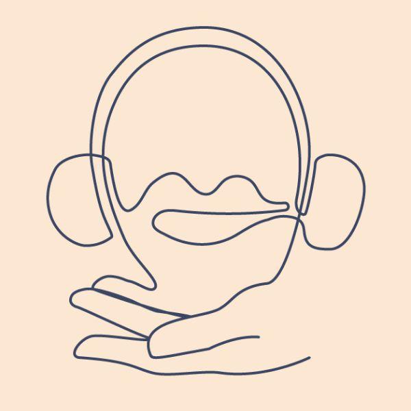 Abstraktne joonistus käest ja kõrvaklappidest