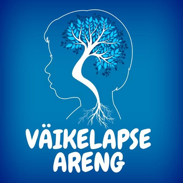 Sinine taust, joonistus lapse pea piirjoontest, mille keskel aju sümboliseeriv puu, joonistuse all podcasti nimi.